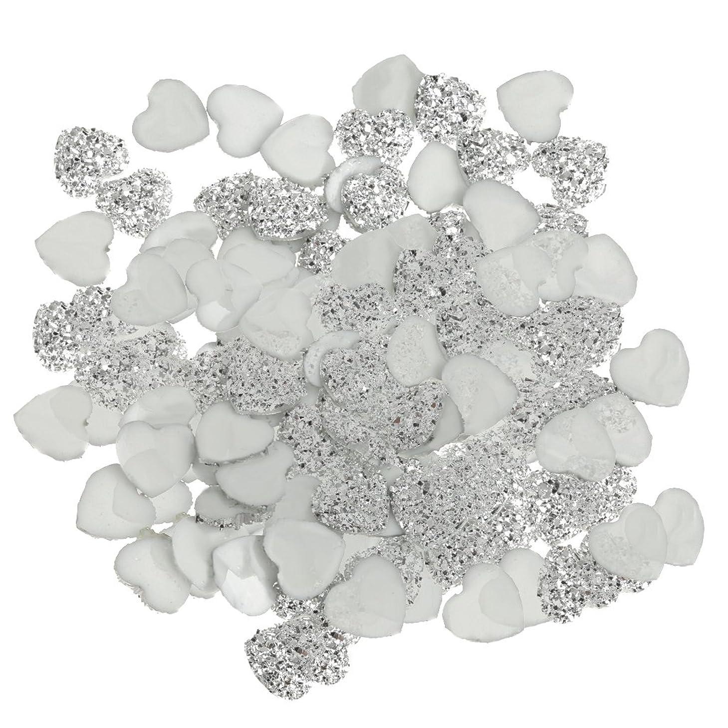 拡声器結果としてスチュアート島SONONIA DIY スクラップブッキング用 100個 銀 樹脂 ラインストーン ハート型 ビーズ 装飾