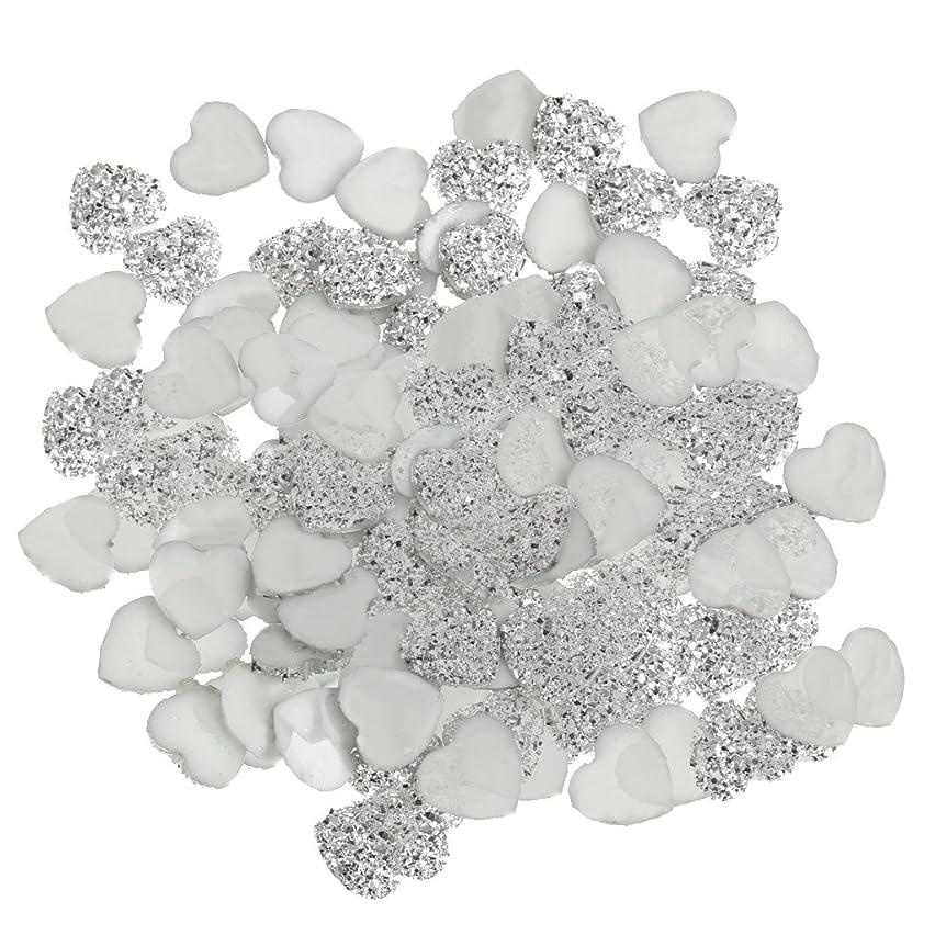 SONONIA DIY スクラップブッキング用 100個 銀 樹脂 ラインストーン ハート型 ビーズ 装飾