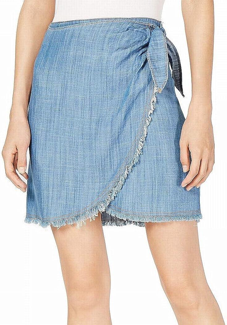 Sage The Label Denim Faux-Wrap Skirt