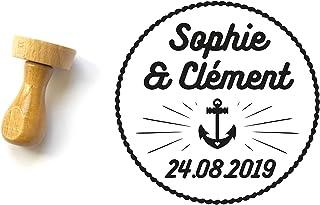 Timbro matrimonio personalizzato marinaio, Ancora marina, forma rotonda 4 cm, con nomi