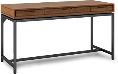 SIMPLIHOME Banting SOLID WOOD and Metal Modern Industrial 60 inch Wide Home Office Desk, Writing Table, Workstation, Study Table Furniture in Medium Saddle Brown with 2 Drawerss