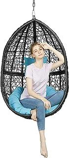 Greenstell ハンギングチェア ハンモックチェア 4つ分のかごで組立式 搬入やすい場所取らない 収納可能 人工ラタンでの卵型チェア クッションとヘッドレスト付き スタンドなし