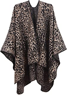 MissShorthair Women's Printed Shawl Wrap Fashionable Open Front Poncho Cape, Gift for Women