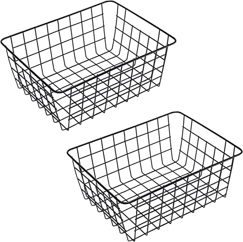 "2021 Wire Storage 2021 Basket 2 Pack Metal lowest Organizer for Farmhouse Bathroom, Laundry, Pantry [11.18 x 14 x 5.63""] Black sale"