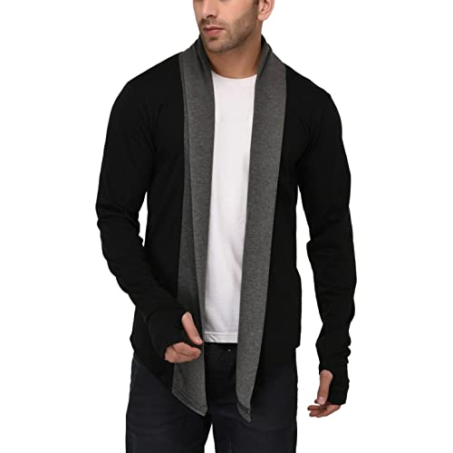 e6f1a302aa DENIMHOLIC Men s Cotton Thumb-Hole Open Long Full Sleeves Cardigan