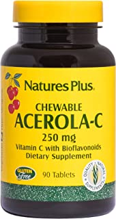 NaturesPlus Acerola-C Complex Chewable, 250 mg Vitamin C, 90 Vegetarian Tablets - Whole Fruit Supplement, Promotes Immune ...