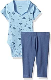 Hanes Ultimate Baby Flexy 2 Piece Set (Pant with Short Sleeve Polo Bodysuit)