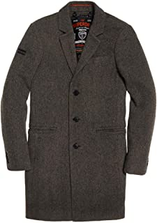 Superdry Mens New Camden Crombie Coat Grey Donegal