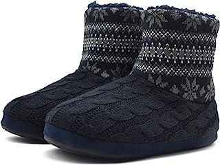 KuaiLu Zapatillas de Estar en Casa Hombre Cálido Invierno Interior Forro de Felpa Pantuflas Cerradas Espuma de Memoria Cóm...