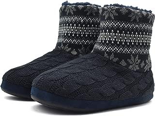 Knit Rock Wool Warm Men Indoor Pull on Cozy Memory Foam Slipper Boots Soft Rubber Sole