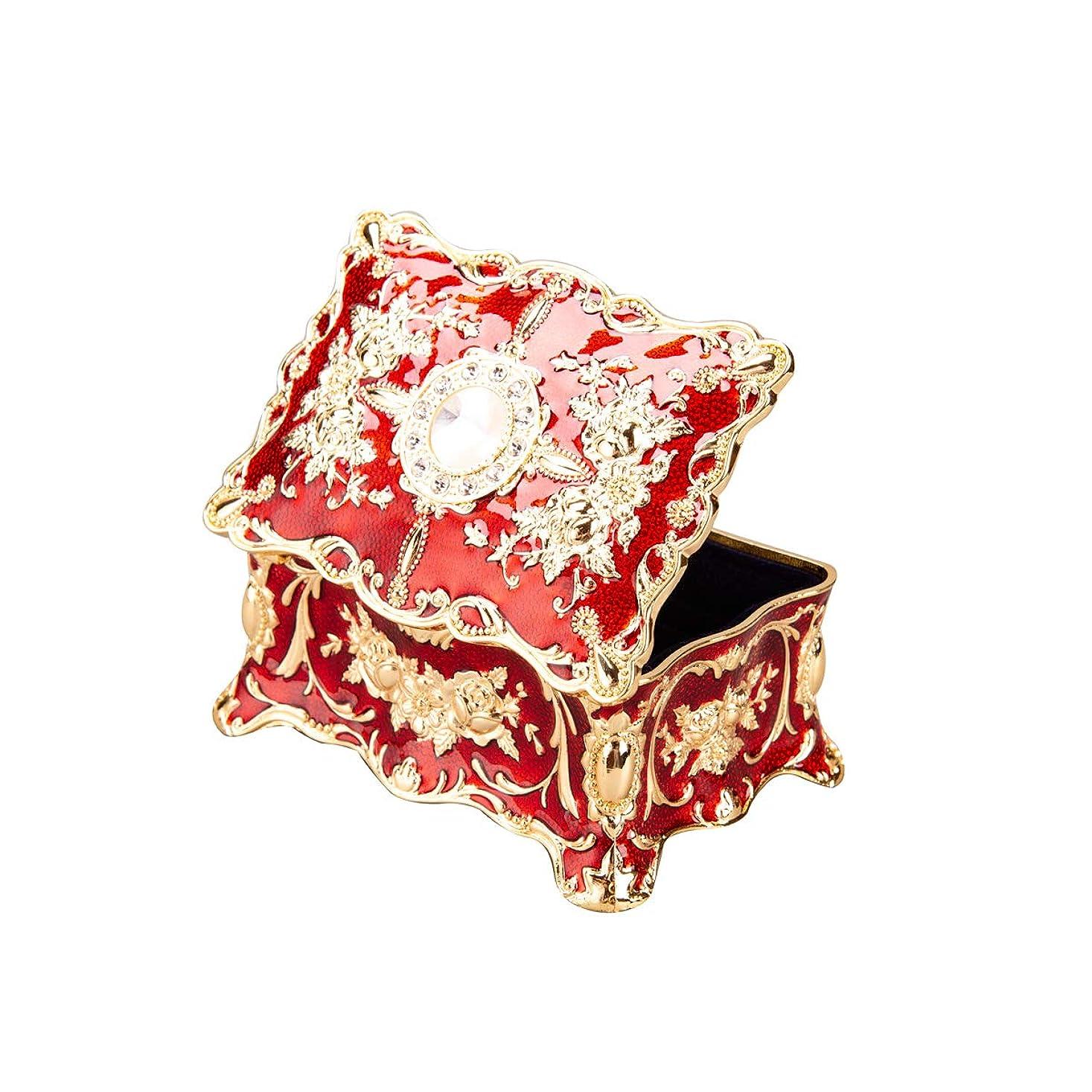 劇的骨の折れる受取人Feyarl ジュエリーボックス 宝石箱 ジュエリー収納 ジュエリーケース 腕時計ボックス レッド 長方形 M