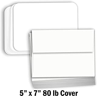 Hamilco White Cardstock Thick Paper - Blank Index Flash Note & Post Cards Rounded Corners with Envelopes Greeting Invitations Stationary 5 X 7