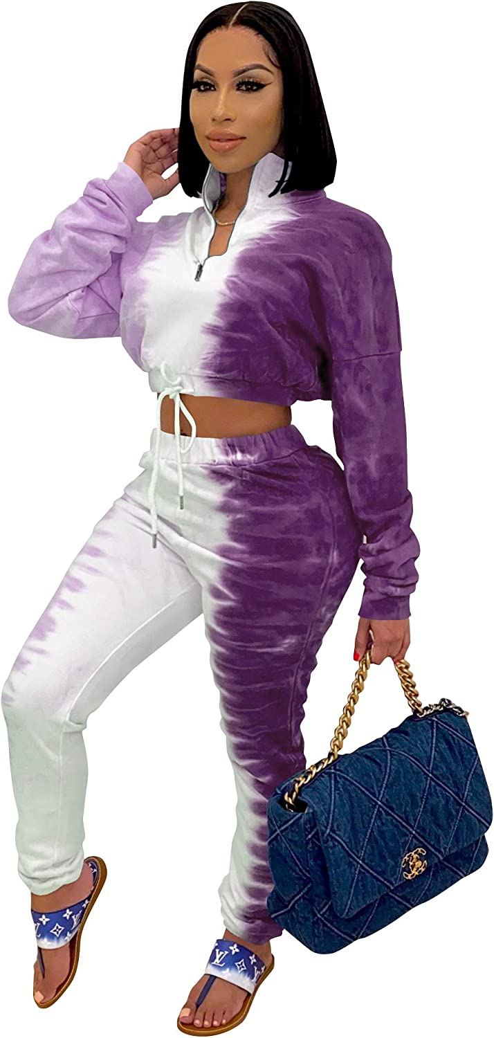 TOPSRANI Womens 2 Piece Outfits Purchase Dye Tracksuit Sweatsu Tie OFFicial store Casual