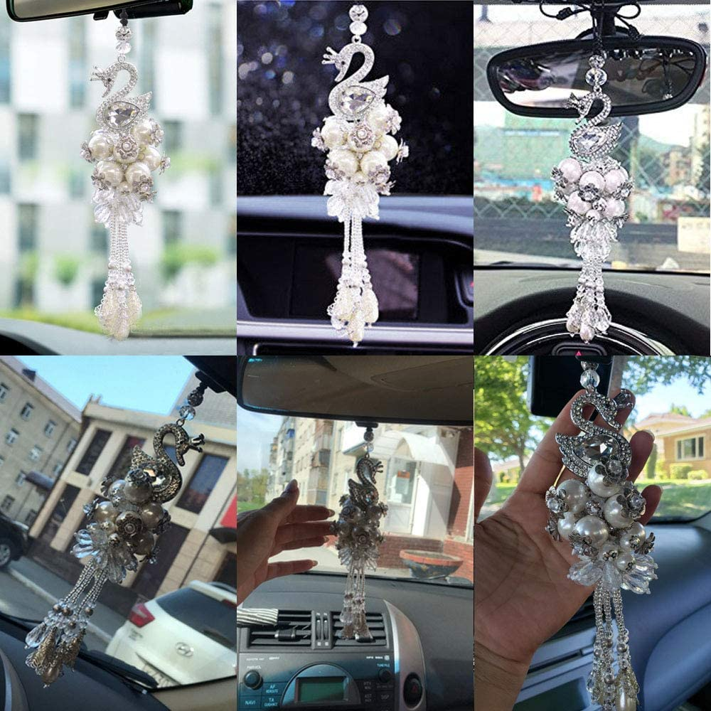 White Pursuestar Bling Crystal Dream Inlaid Diamond Rearview Mirror Hanging Ornament Swan Pendant for Vehicle Interior Accessories Home Decor Ornament