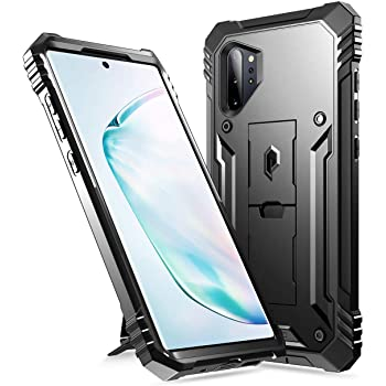 Poetic Galaxy Note 10 Plus Rugged Case with Kickstand, Heavy Duty Military Grade Full Body Cover, Without Built-in-Screen Protector, Revolution, for Samsung Galaxy Note 10+ Plus 5G, Black