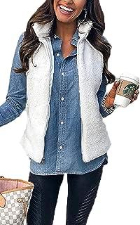 Angashion Women's Casual Sherpa Fleece Vest Zip up Warm Cardigan Waistcoat Outerwear with Pockets