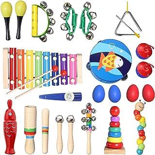 TOPERSUN 28PCS Instruments de Musique Enfant Jouets Musicaux Bois Cadeau de l'enfant Instrument Percussion Enfant Ensemble