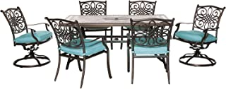 Hanover MONDN7PCSW-2-BLU Monaco 7-Piece Set in Blue with 4 Dining Chairs, 2 Swivel Rockers, and a 40