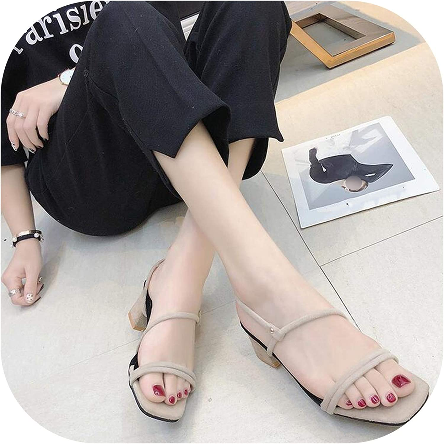 Gooding Day Women Sandals Suede Square Heels Peep Toe Buckle Strap Women's Fashion Summer shoes