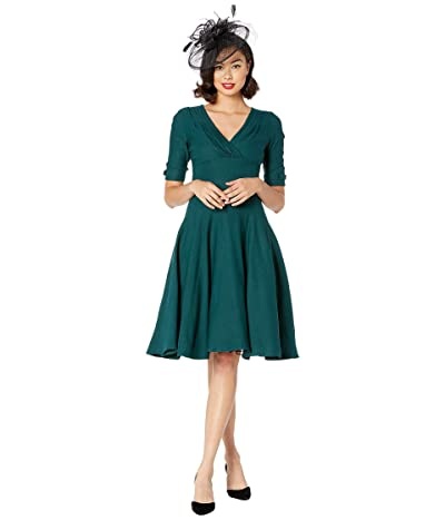 Unique Vintage 1950s Delores Swing Dress with Sleeves (Dark Green) Women
