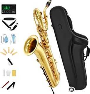 Eastar BS-Ⅲ Baritone Saxophone E Flat Brass Intermediate with Tuner Case Mouthpiece Reeds Stand Cork Grease Cleaning Greece پارچه و بند گردن