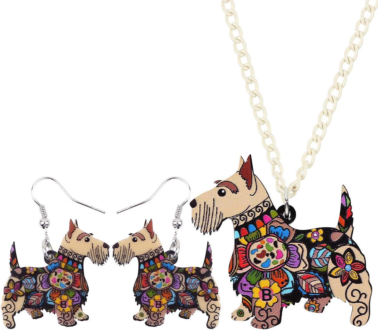 DUOWEI Acrylic Cute Aberdeen Scottish Terrier Dog Earrings Necklace Jewelry Sets Charms Pets Pendants for Women Teens Girls Kids Gifts