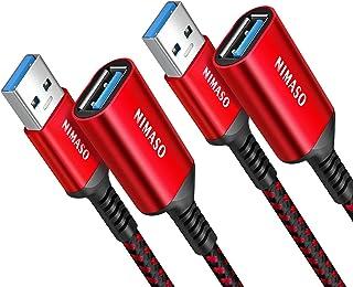 Nimaso USB Verlängerung Kabel 2 Stück 1M2M, USB 3.0 Verlängerungskabel A Stecker auf A Buchse 5Gbps Superschnelle für Kartenlesegerät,Tastatur, Drucker, Scanner, Kamera usw - Rot