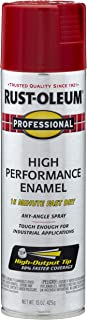 Rust-Oleum 7564838 Professional High Performance Enamel Spray Paint, 15 oz, Safety Red