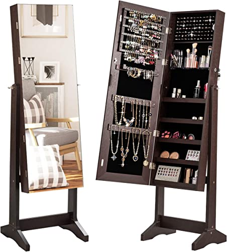 high quality CHARMAID Free online Standing Jewelry Cabinet with Full Length Mirror, 2-in-1 Lockable 2021 Jewelry Armoire Organizer with Large Storage Capacity, 3 Angles Adjustable, Jewelry Cabinet with Mirror (Brown) outlet online sale