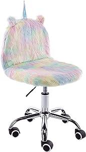 Wahson Cute Shaggy Unicorn Task Chair with Wheels, Comfy Swivel Desk Chair Armless, for Kids, Girls, Bedroom, for Girls, Rainbow