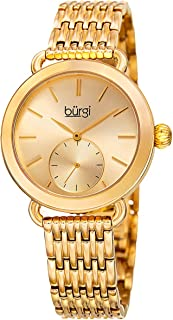 ساعة بسوار من الستانلس ستيل ومينا ذهبي وردي للنساء من بورغي - طراز Bur153Yg