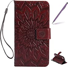 Trumpshop Smartphone Protective Case for Huawei Y6 II (5.5-Inch) [Brown] 3D Mandala Premium PU Leather Flip Wallet Cover Bookstyle Shockproof [Not compatible with Huawei Y6 and Y6 II Compact]
