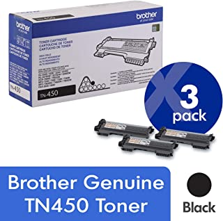 Brother Genuine TN450 3-Pack High Yield Black Toner Cartridge with Approximately 2,600 Page Yield/Cartridge