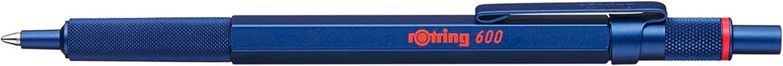 rOtring Bolígrafo 600, punta media, tinta azul, barril azul, recargable