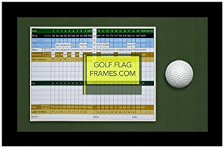 8x13 Golf Scorecard & Ball Frame; Black Wood Shadowbox Frame, Green Mat (holds up to approx. 6x8 card); card & ball not included