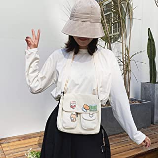 niumanery Shopping Bags Sweet Kawaii Printed Canvas Harajuku Style Shoulder Crossbody Bag White S