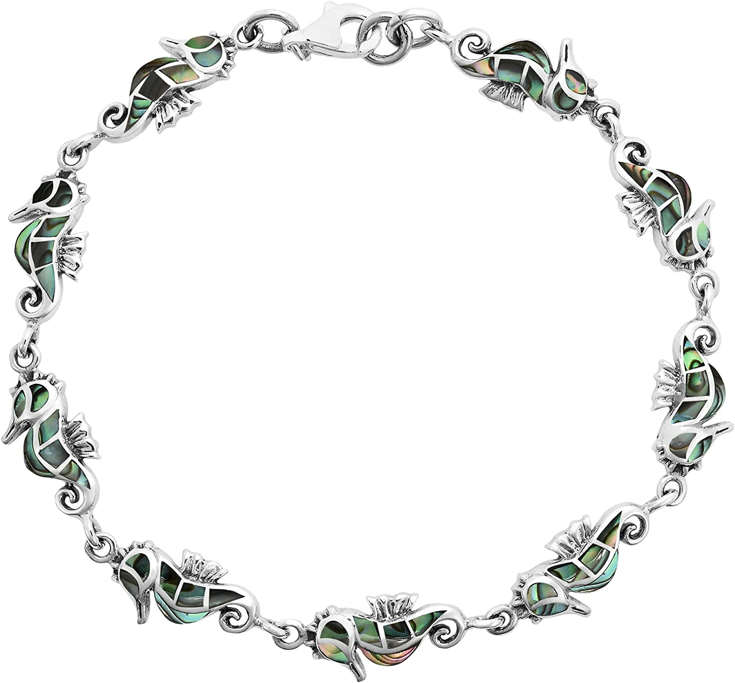 AeraVida Amazing Abalone Shell Inlays with .925 Sterling Silver