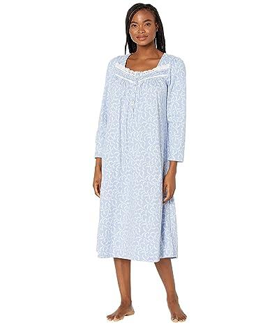 Eileen West Cotton Jersey Knit Ballet Long Sleeve Gown (Peri Scroll) Women