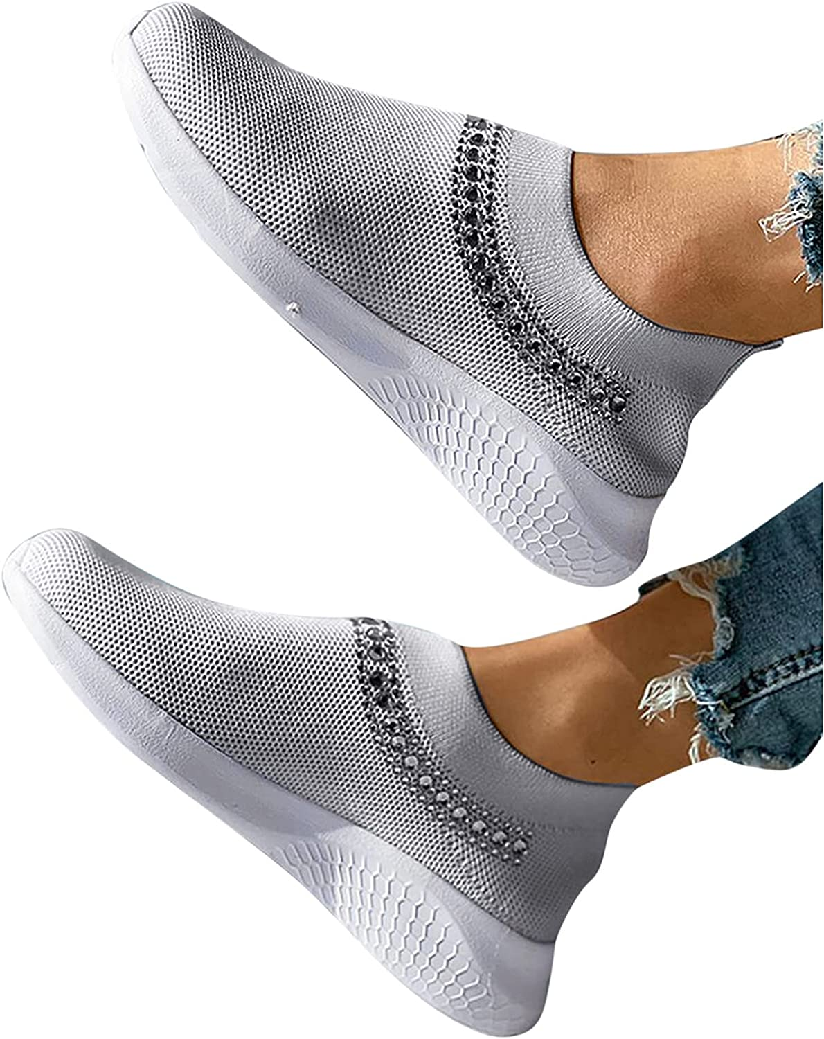AODONG Sneakers for Women Walking Shoes Crystal Slip On Mesh Breathable Wedges Running Sports Shoes Fashion Round Toe Shoes