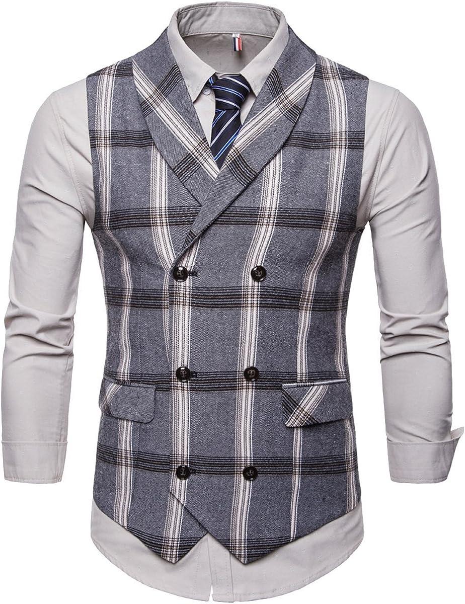 Cottory Men's Double Breast Business Suit Vest Tartan Waistcoat Shawl Lapel Casual Vest