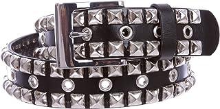 Snap On Punk Rock Silver Star Studded Grommets Full Grain Leather Jean Belt