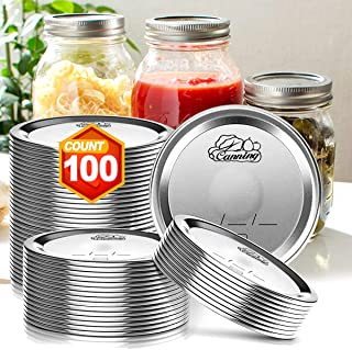 Wide Mouth Canning Lids for Ball Kerr Jars - 100 Count - Split-Type Metal Mason Jar Lids for Canning, 100% Fit & Airtight ...