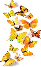 TUPARKA 36 stuks 3D vlinders deco vlinder wanddecoratie vlinder muursticker 3D wandtattoo vlinders balkon decoratie (geel)