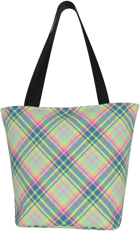 Scottish Green Plaid Lovely Youth Themed Printed Women Canvas Handbag Zipper Shoulder Bag Work Booksbag Tote Purse Leisure Hobo Bag For Shopping
