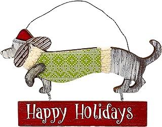 Transpac Dog Dachshund Door Wall Plaque Sign Gift Christmas Holiday New Year Decoration Wreath Indoor Outdoor Wood Metal 9