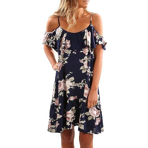 df6a2530e4 Aking Summer Dresses Women Ruffle Short Sleeve Cold Shoulder Floral Print  Beach Dress