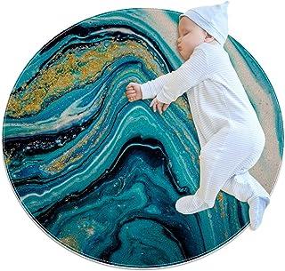 Blå guld vit abstrakt, barn rund matta polyester överkast matta mjuk pedagogisk tvättbar matta barnkammare tipi tält lekmatta