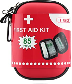 I GO Compact First Aid Kit – Hard Shell Case for Hiking, Camping, Travel, Car..