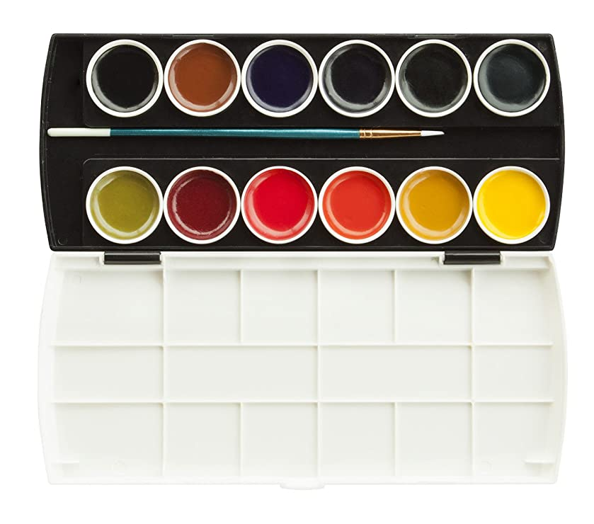 Jack Richeson Set of 12 Semi Moist Watercolors with Brush