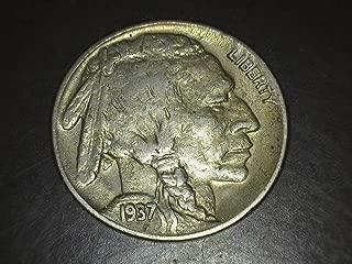 1937 D 3 Legged Buffalo Nickel - Rare - Hard to Find - Exceptional Nickel 5c VF/EF